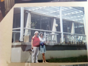 Mum and I standing out the front of the old Australian War Memorial cafe that was recently rebuilt.