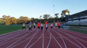 The first ever Can Too Canberra Pods training at the AIS for their 10km and 21km events.